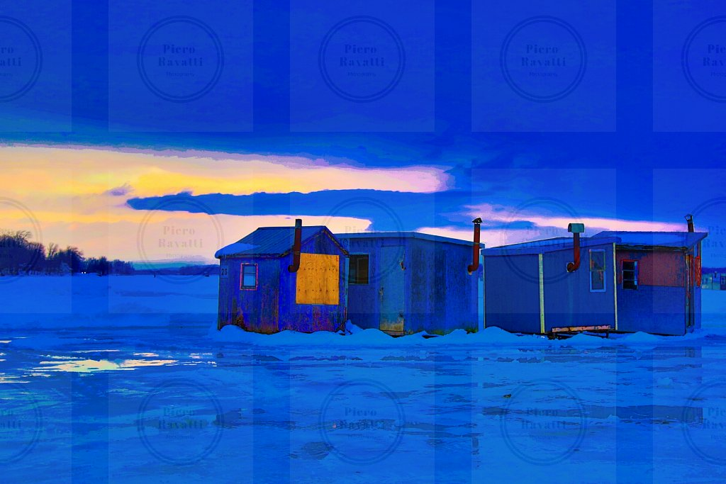 Blue Ice Fishing Huts